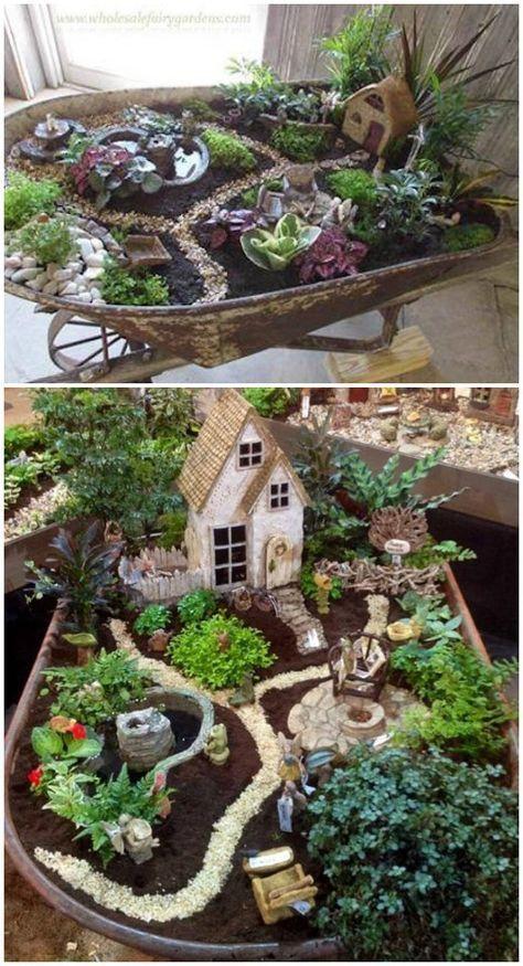 Diy Miniature Wheelbarrow Fairy Garden Ideas And Projects Garten Design Marchen Garten Miniaturgarten