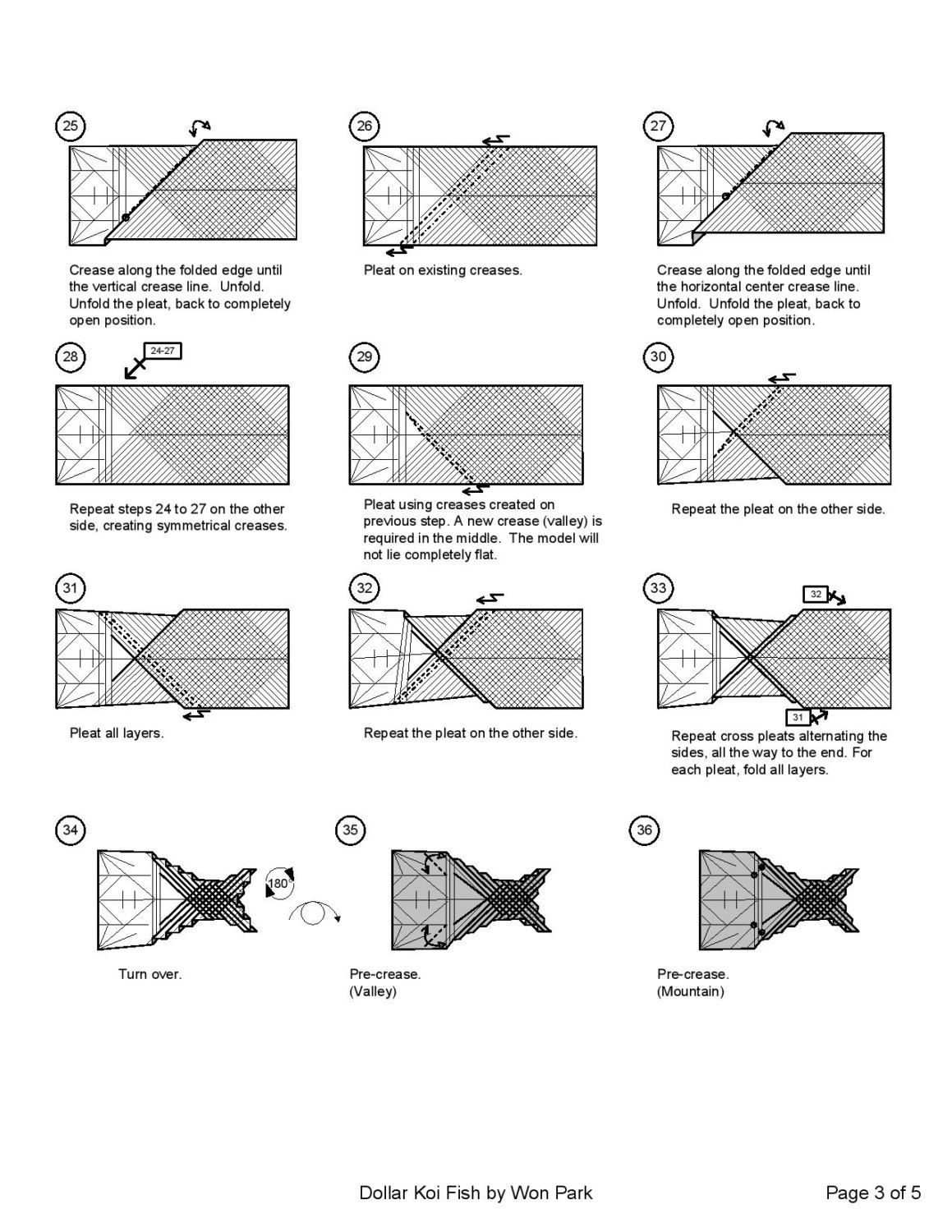 KOI FISH Diagram (3 of 5) Money Origami Dollar Bill Art ... - photo#49