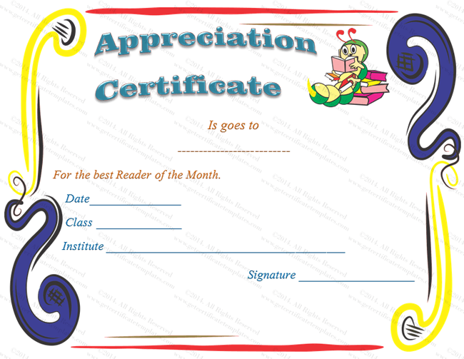 KidS School Certificate Of Appreciation Template  Certificate Of