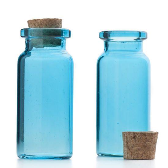 Real Weddings Cork: Mini Blue Glass Bottles With Cork Stopper