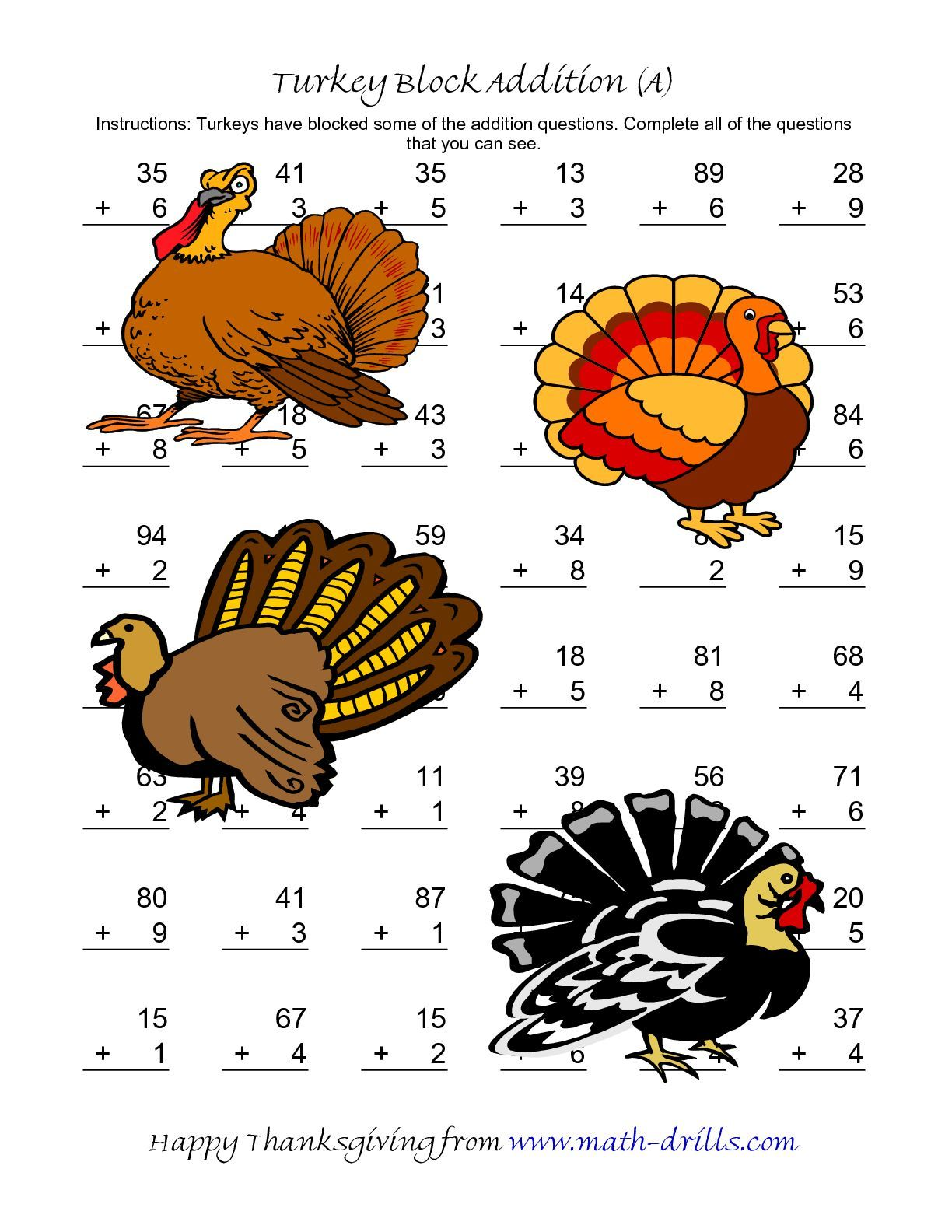 The Turkey Block Addition Two Digit Plus One Digit A