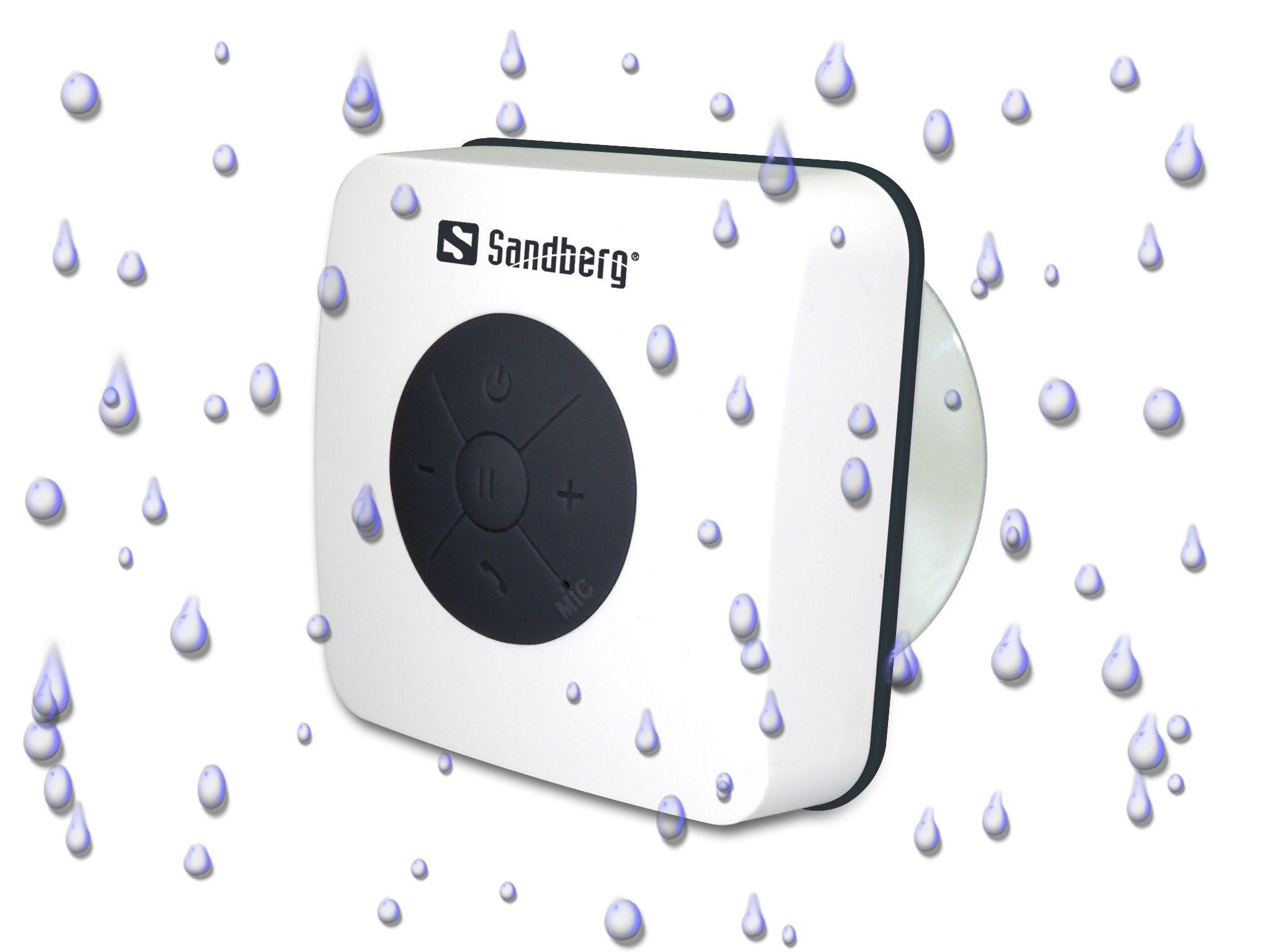 Sandberg Shower Bluetooth Speaker is a smart splashproof Bluetooth speaker designed for shower mount by means of a powerful suction disc. Enjoy the music from your mobile phone wirelessly while you are taking a shower - or remove the suction disc and bring the speaker wherever you want..