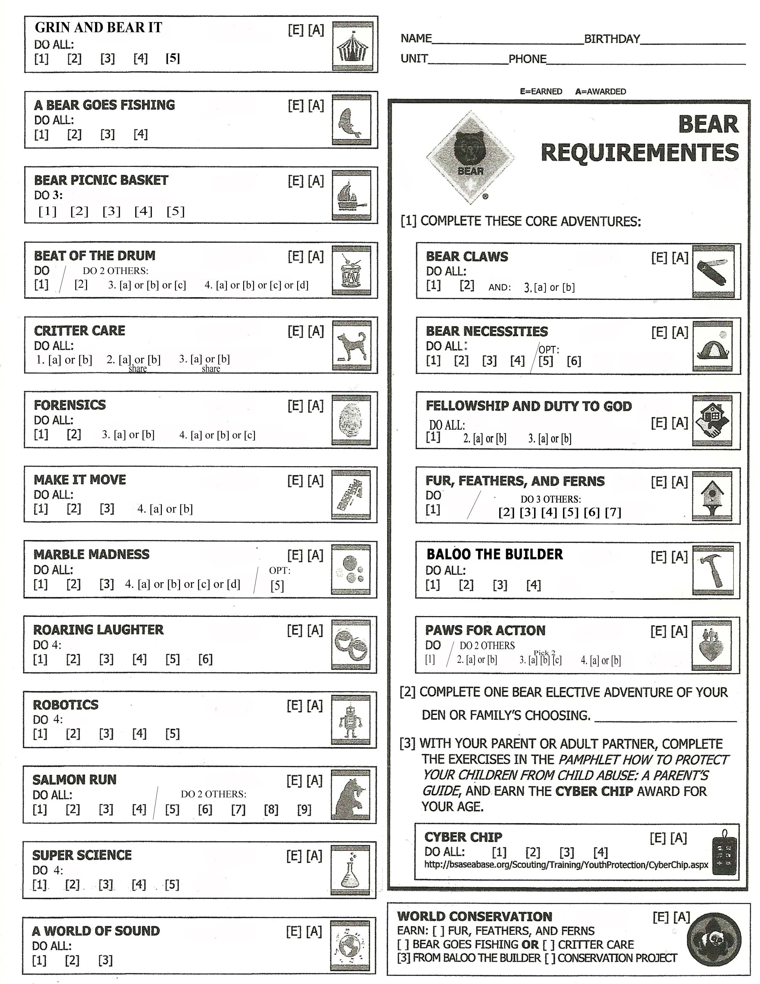Bear Cub Scout Updated Requirements tracking sheet | Cub