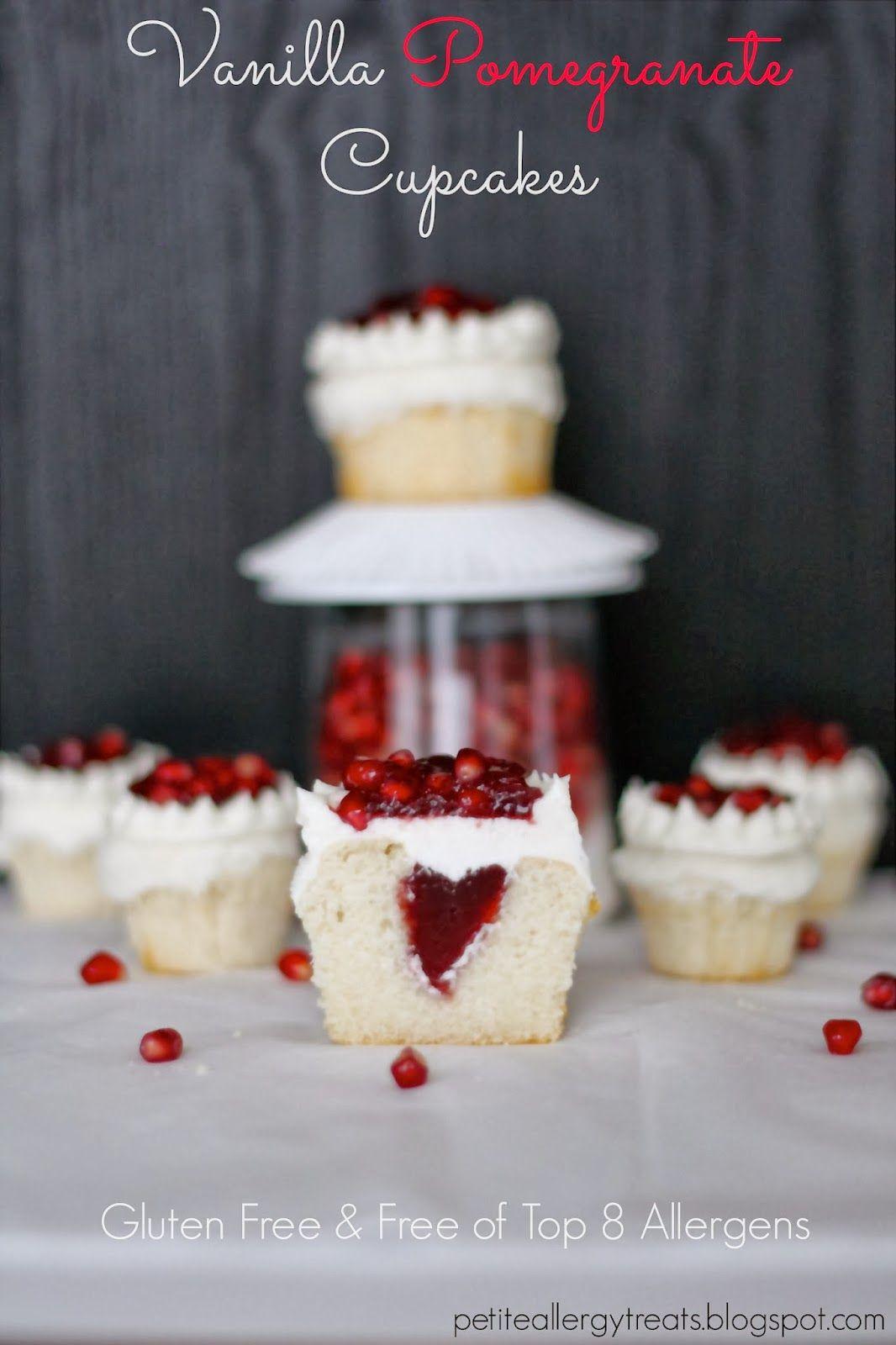 Gluten Free Pomegranate Cupcakes-petiteallergytreats.blogspot.com  #glutenfree, #Pomegrante, #vanilla, #eggless, #dairyfree, #caseinfree, #dessert, #cake