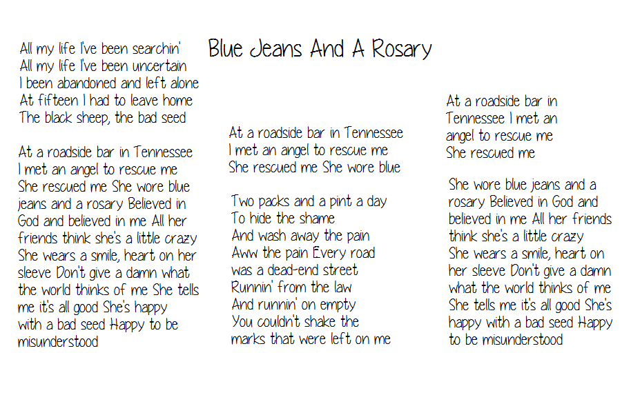 Lyric blue song lyrics : Lyrics-Blue Jeans and A Rosary -Kid Rock | LYRICS | Pinterest ...
