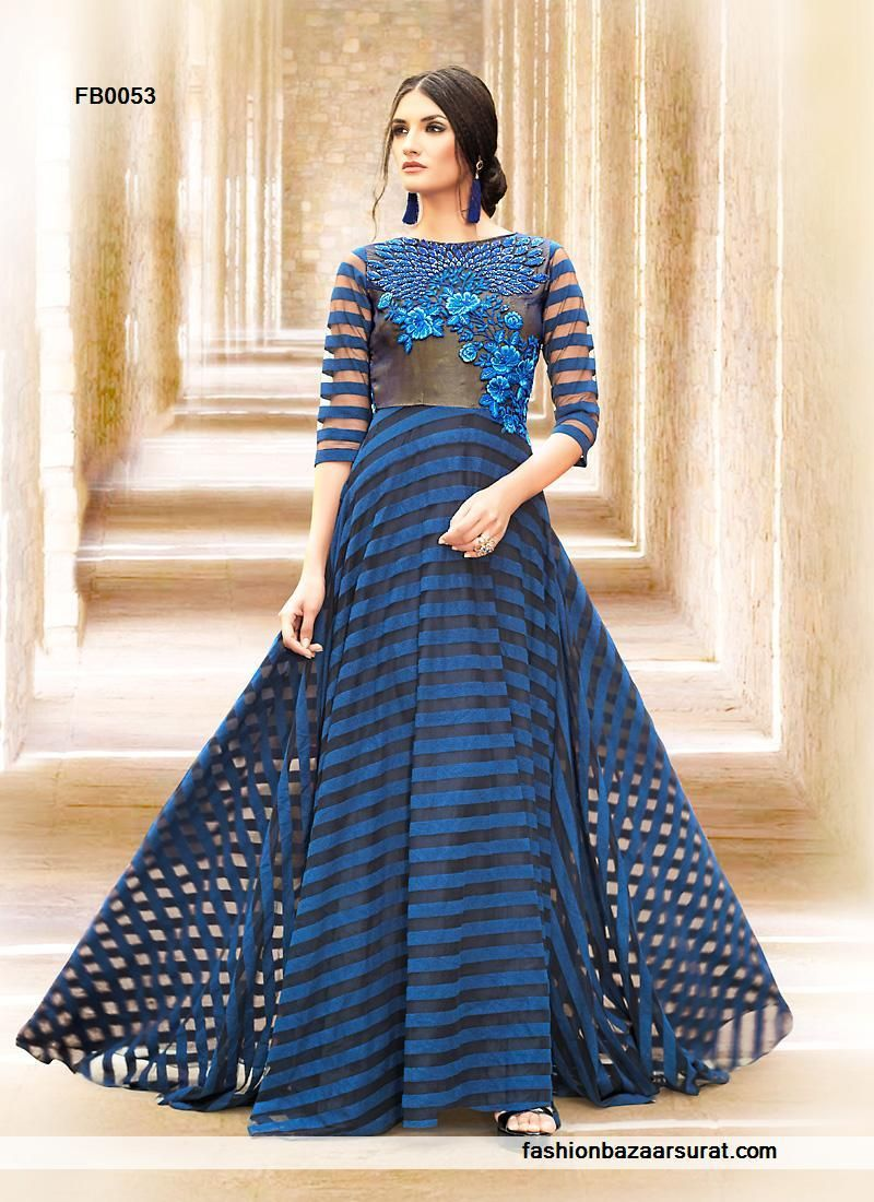 buy Beautiful Blue Satin Designer Evening Gown online, buy Gown ...
