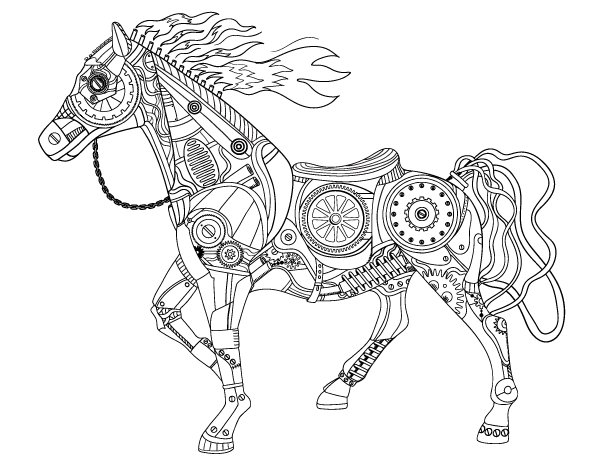 Free printable steampunk horse adult coloring page Download it in
