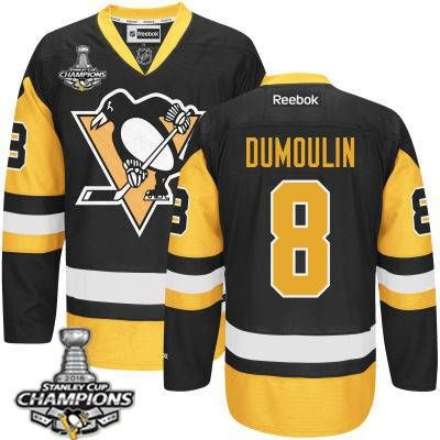 Men's Pittsburgh Penguins #8 Brian Dumoulin Black Third Jersey w 2016 Stanley Cup Champions Patch