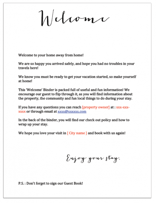 Welcome Letter Sample