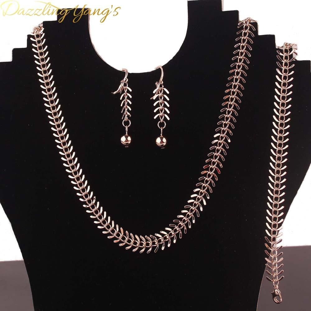 Dazzling trendy jewelry sets rose gold plated centipede shape