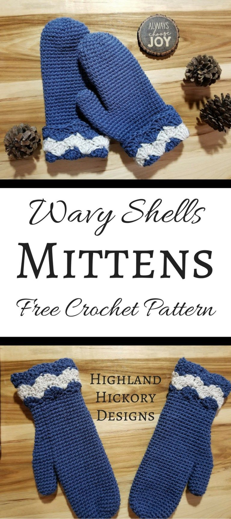 Wavy Shells Mittens | Gifts to Make | Pinterest | Crochet, Crochet ...