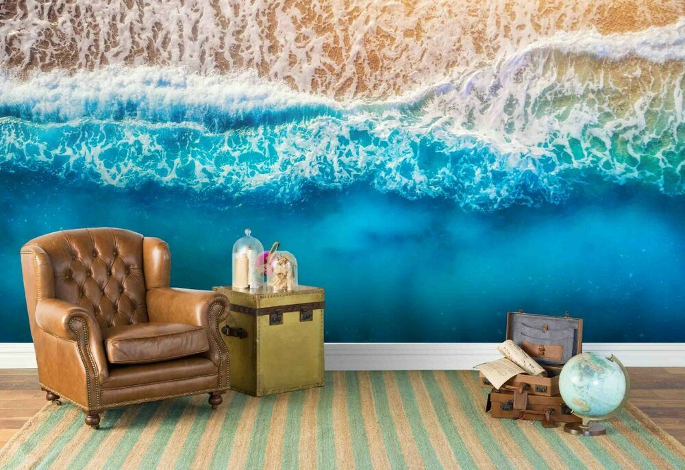 3d Seascape Beach Waves Wallpaper Wall Mural Removable Self Adhesive Sticker Ebay In 2020 Waves Wallpaper Mural Wallpaper Beach Wallpaper
