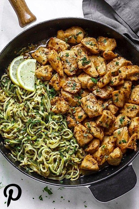 Garlic Butter Chicken Bites with Lemon Zucchini Noodles Garlic Butter Chicken Bites with Lemon Zucchini Noodles