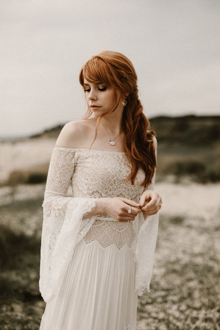 Off-the-shoulder bohemian wedding dress from Flora Bridal | Image by Kevin Klein