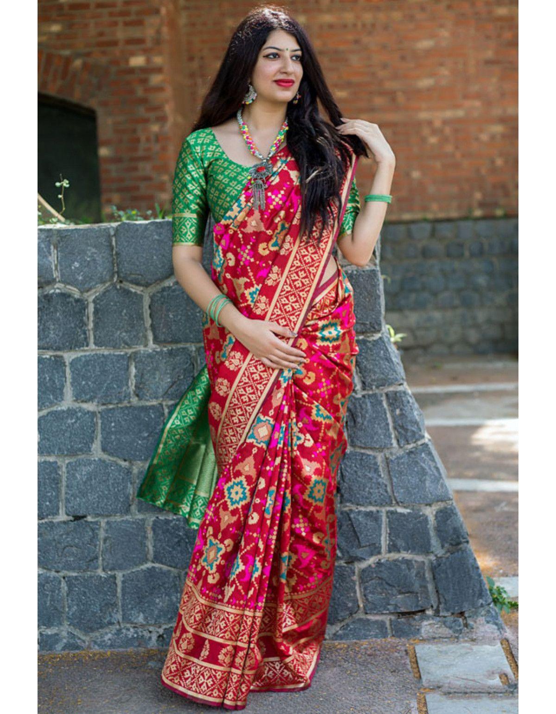 2fd4ae6a43 Cherry Red Banarasi Patola Silk Saree in 2019   Stuff to buy   Art ...