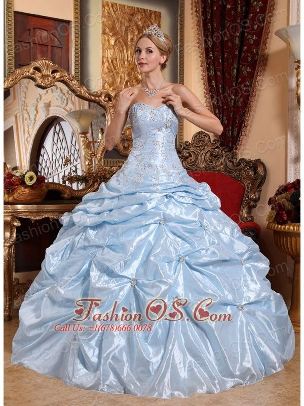 Discount Baby Blue Sweet 16 Dress Sweetheart Taffeta Embroidery with ...