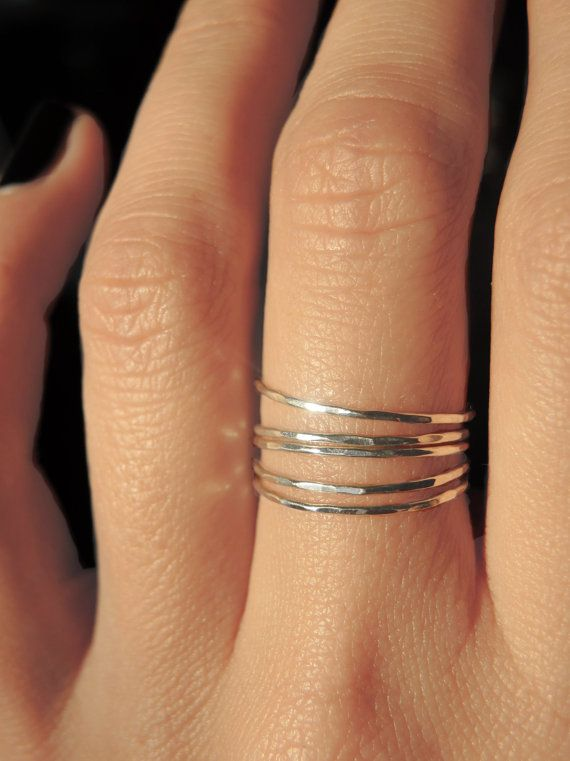 5 THIN STACKING MULTI BAND HIGH POLISHED ALL GENUINE  Sterling Silver.925 Size 6
