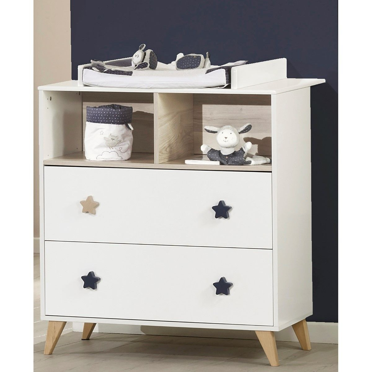 Commode 2 Tiroirs 2 Niches Oslo Boutons Etoiles Sauthon Taille Taille Unique Commode Bebe Commode A Langer Decoration Maison