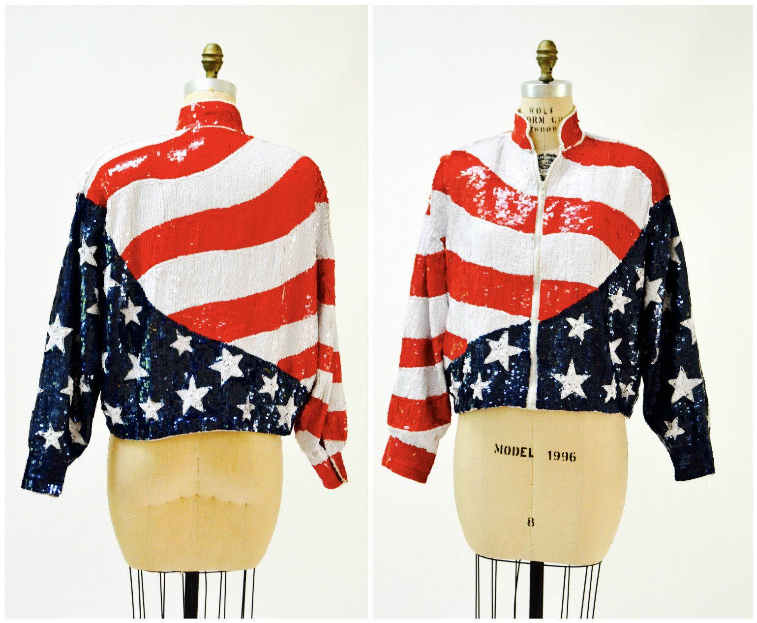 Vintage Sequin Jacket Size Medium American Flag By Modi Vintage Sequin Bomber Jacket Stars And Strip Vintage Sequin Jacket Sequin Bomber Jacket Sequin Bomber