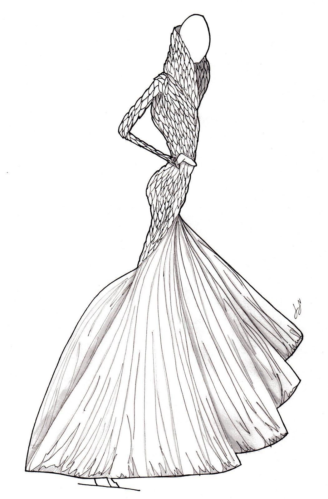 Mcqueen fashion sketch dress