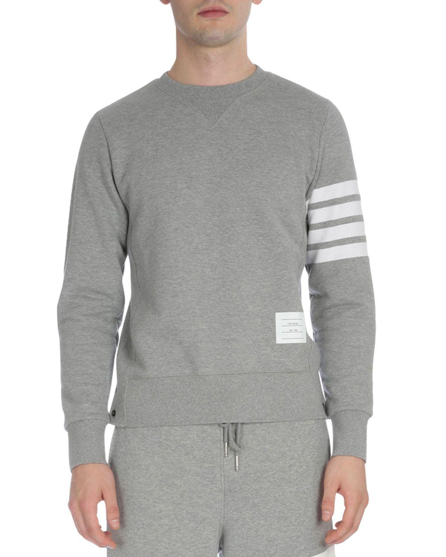 a166032aa68 Classic Crewneck Sweatshirt with Striped-Sleeve, Light Gray, Men's, Size:  2/M, Light Grey - Thom Browne