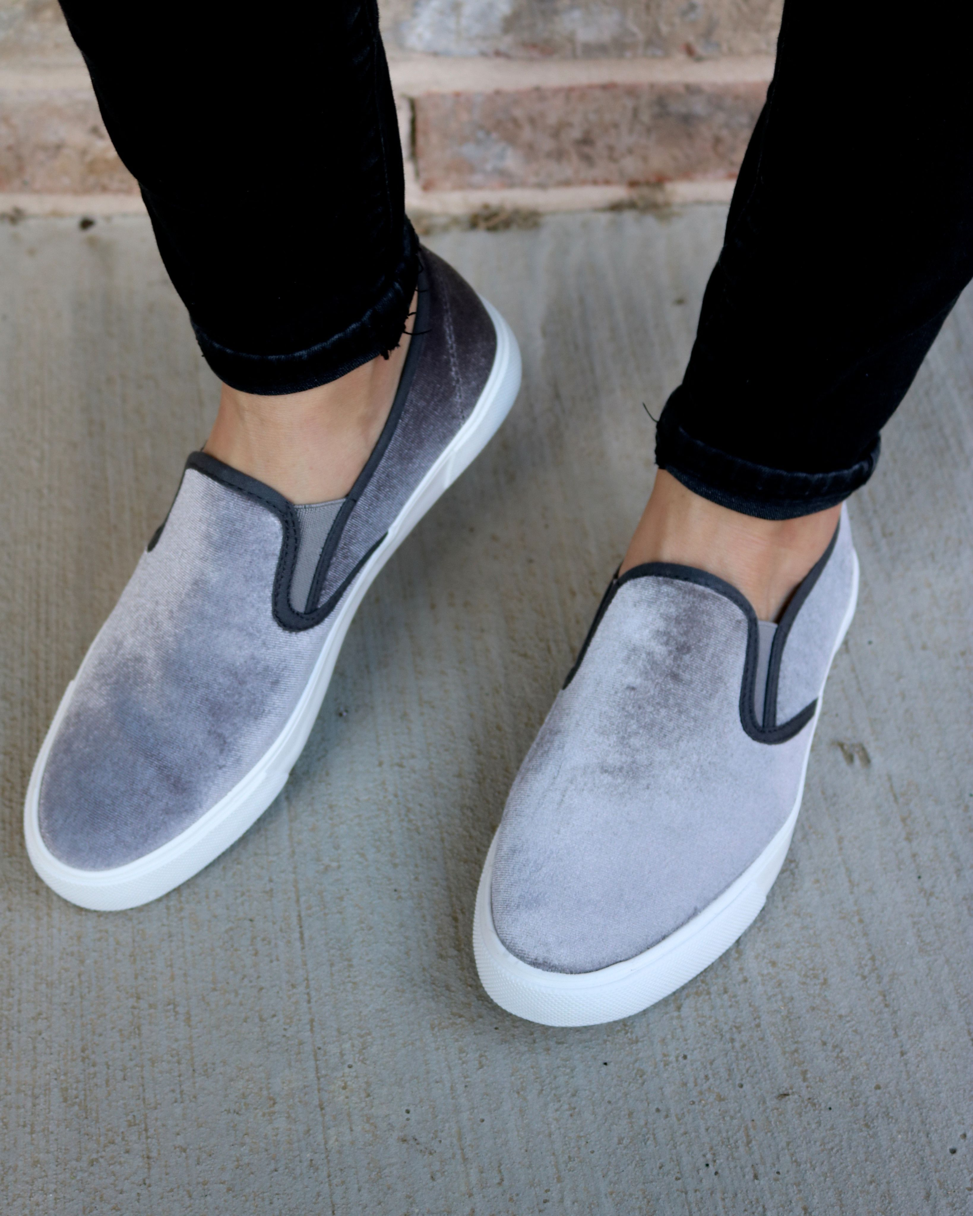 Grey Velvet Slip Ons