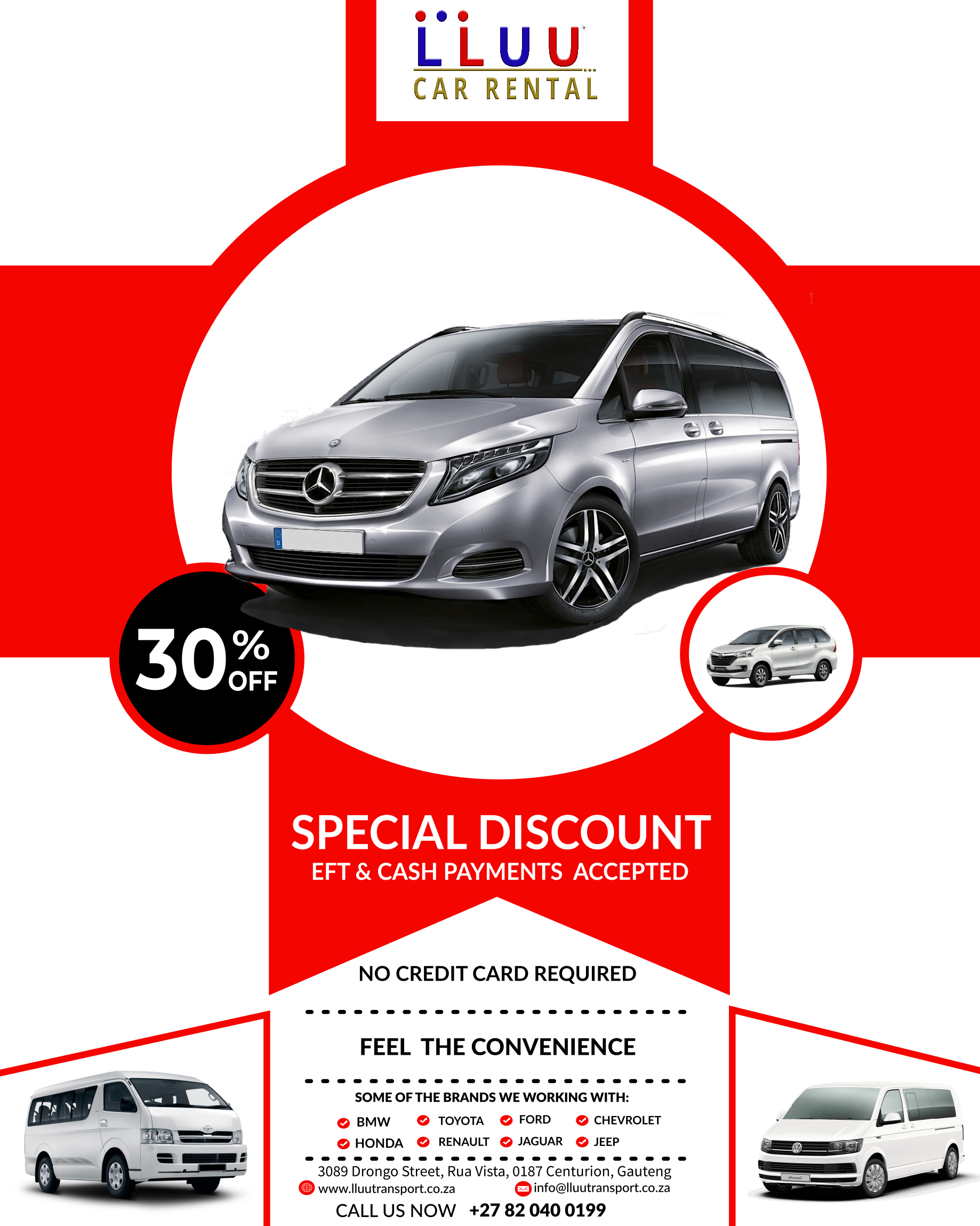 30 Off Discount Sounds Great What Are You Waiting For Call Us Now 27 82 040 0199 To Rent Staff Transport At An Affordabl Ford Chevrolet Car Hire Car Rental