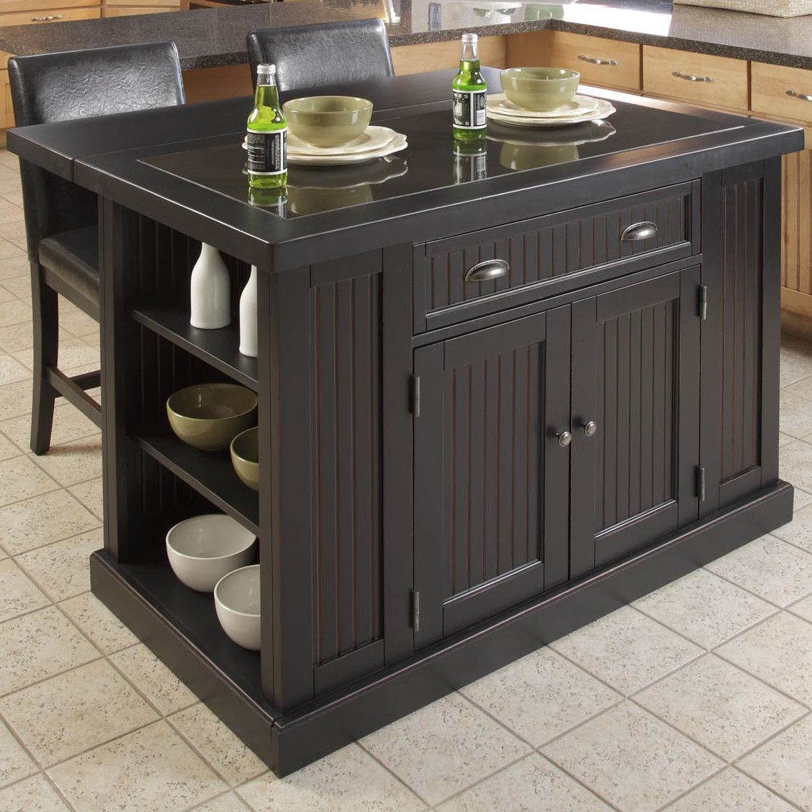 Nantucket Kitchen Island in Distressed Black with Drop Leaf ...