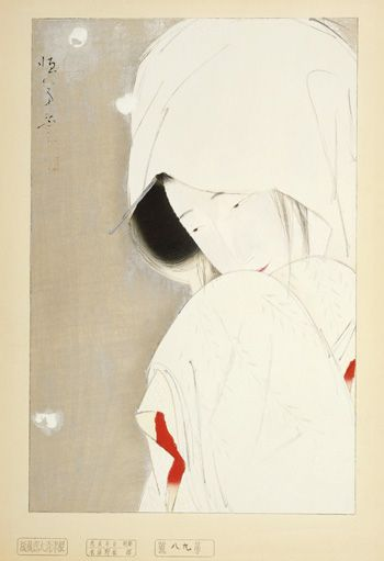A Lady In Snow  ca. 1923    Kitano Tsunetomi , (Japanese, 1880 - 1947)       Woodblock print; ink and color on paper  H: 45.1 W: 29.8 cm   Japan