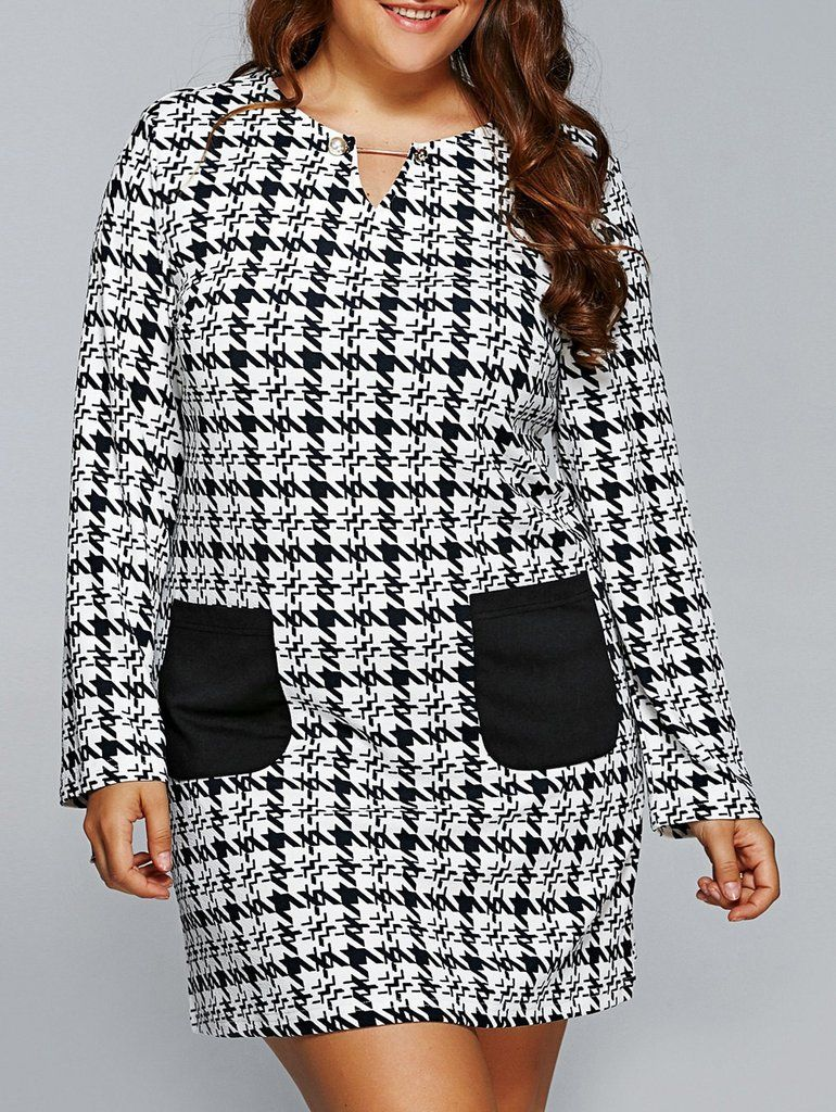 Plus Size Houndstooth Print Double Pockets Shift Dress Houndstooth