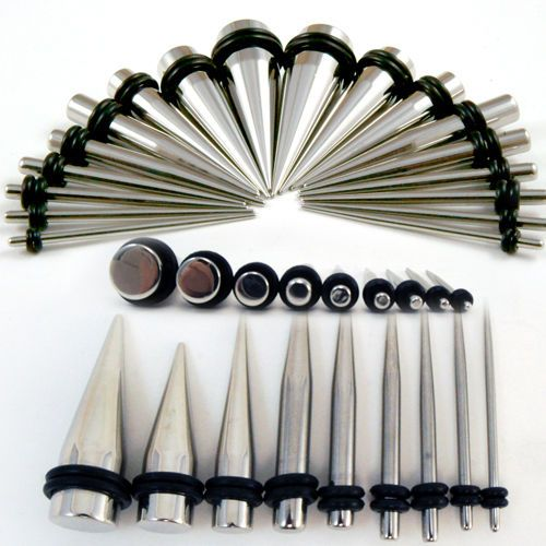 14G-00G-Steel-Tapers-Plugs-Double-O-Rings-Ear-Gauges-Stretching-Expander-Pair