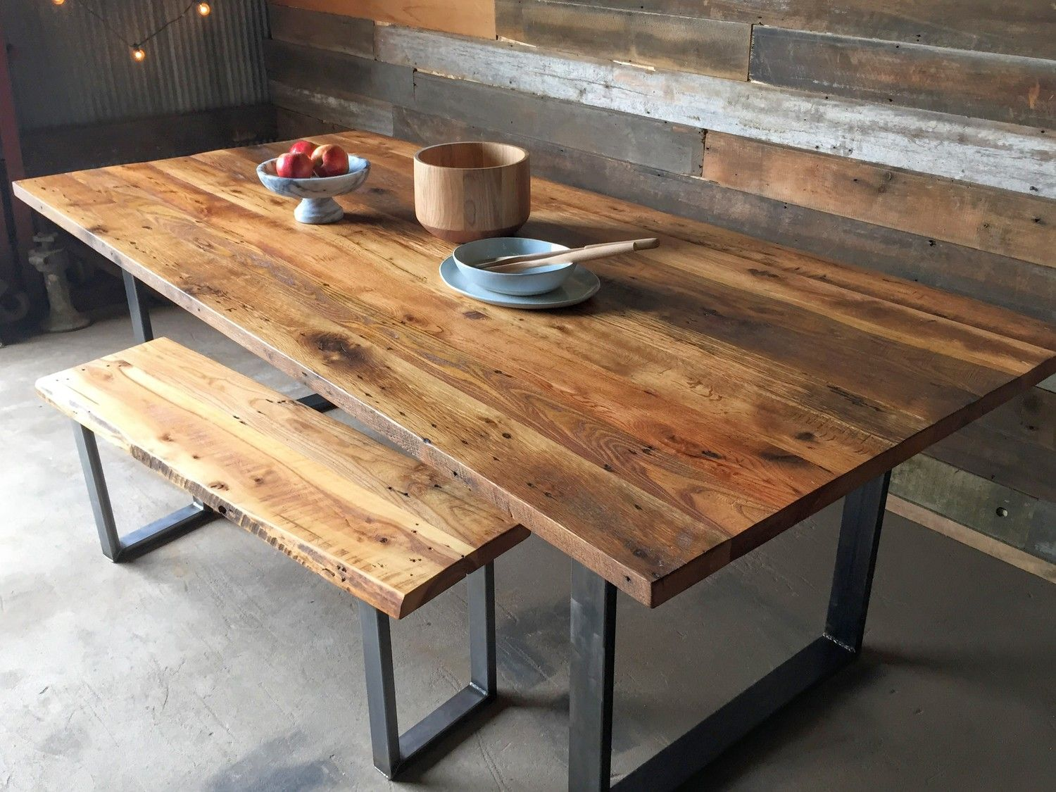 Industrial Modern Dining Table U Shaped Metal Legs Reclaimed