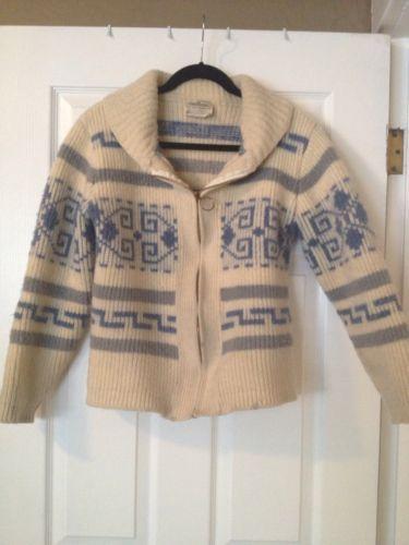 VTG Pendleton Big Lebowski Wool Shawl Collar Zip Cowichan Cardigan Sweater M