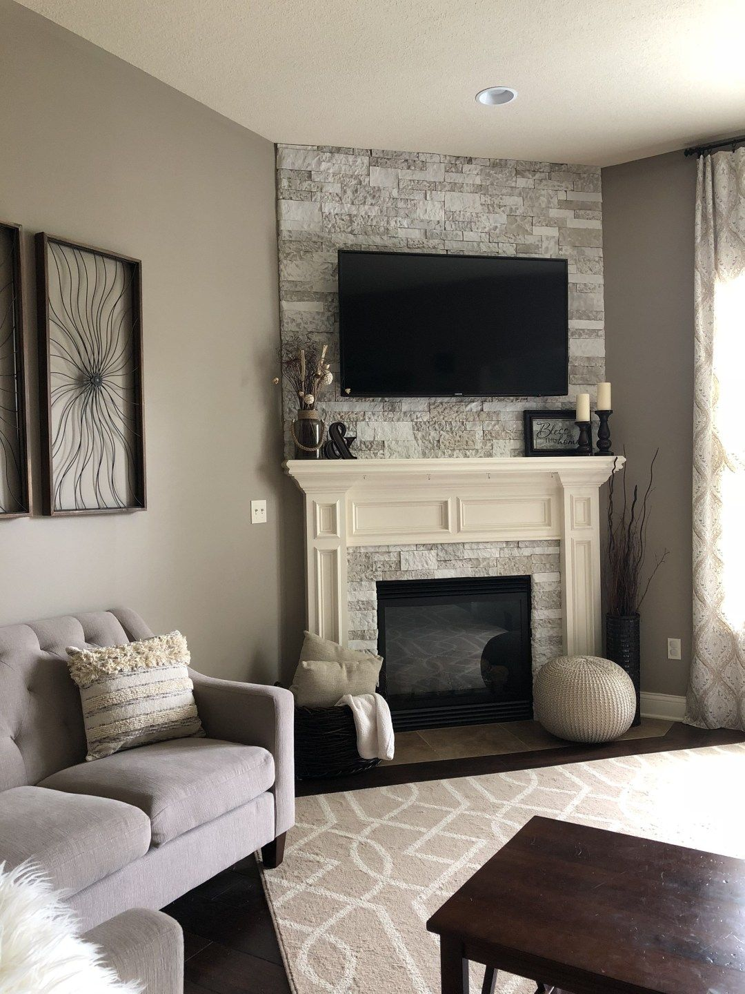 AirStone Fireplace Makeover Airstone fireplace, Diy