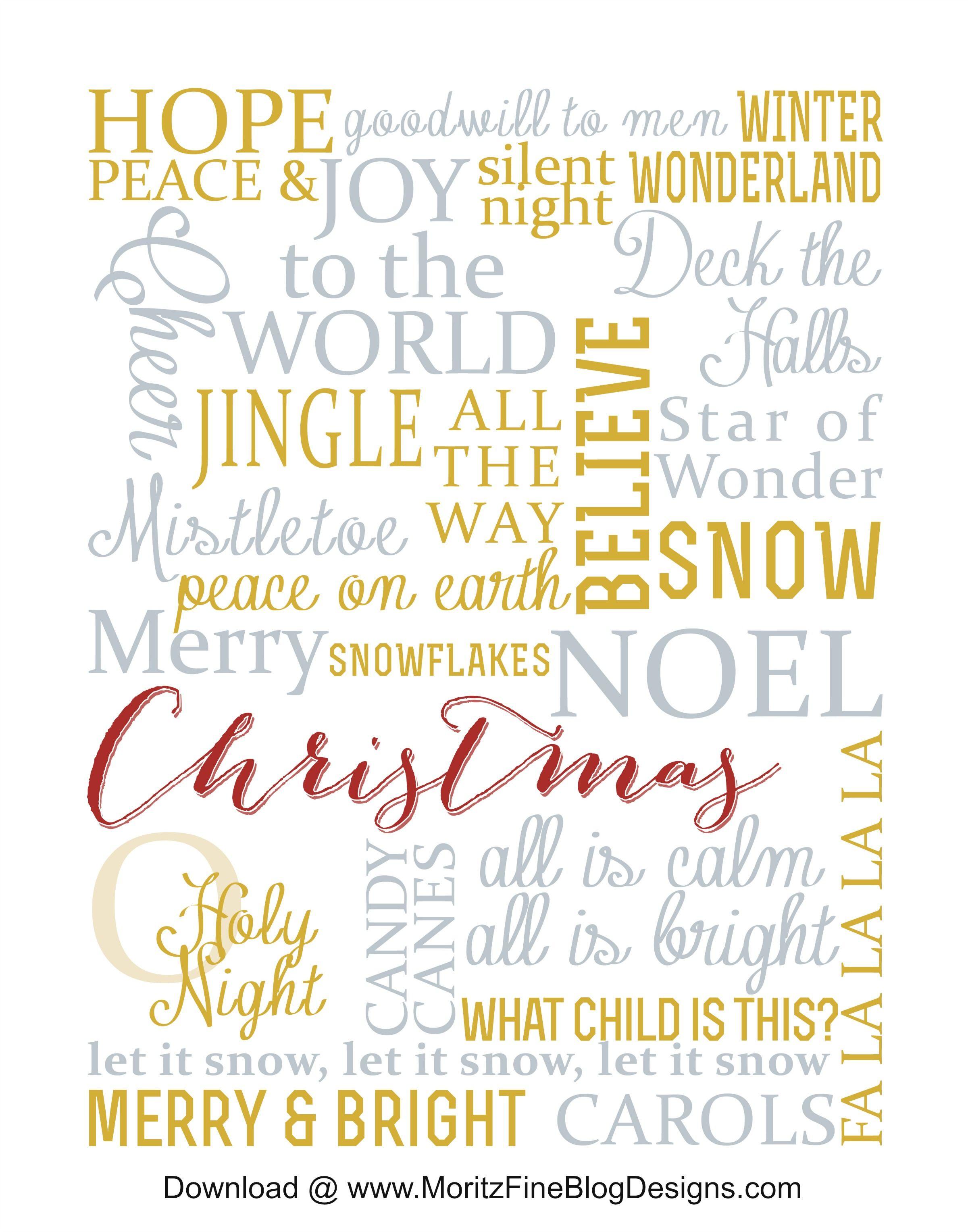 Christmas Subway Art Free Printable   Recipe & Holiday Favorites ...