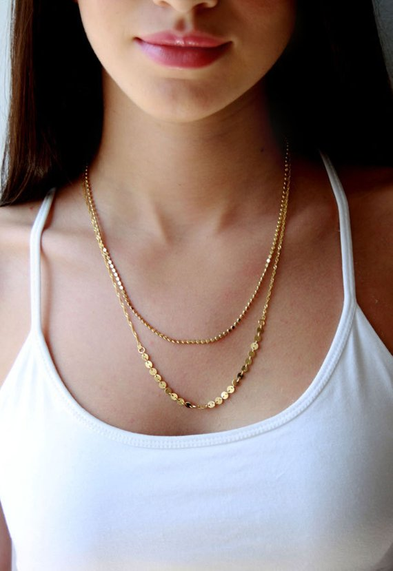 Double Layered Gold Necklace Layering Jewelry Multi Chain Etsy Multi Chain Necklace Fashion Necklace Gold Chains For Men
