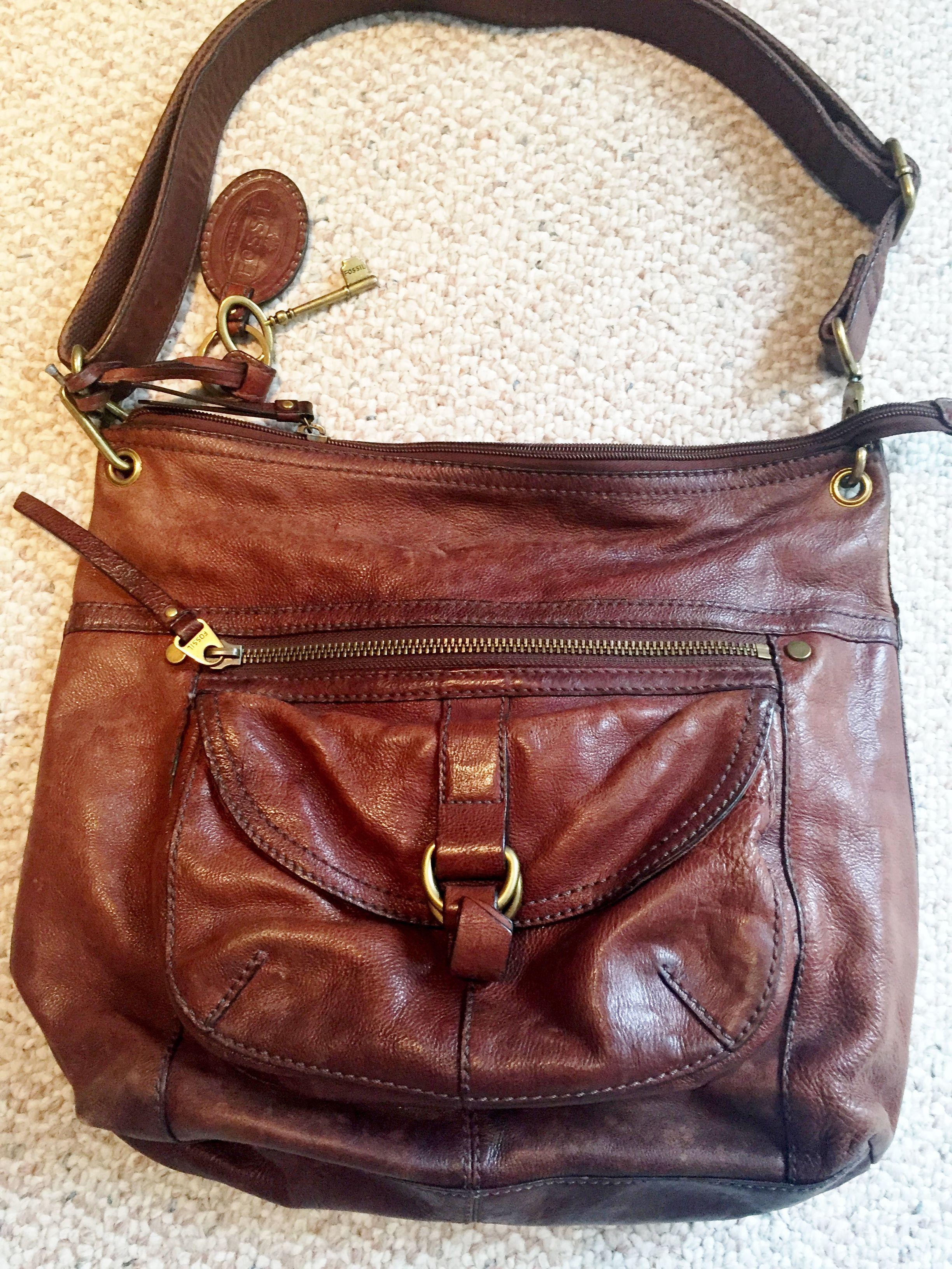 875fcdeb21a4 Vintage Fossil Shoulder Bag Saddle Brown Leather Super Rich Patina ...