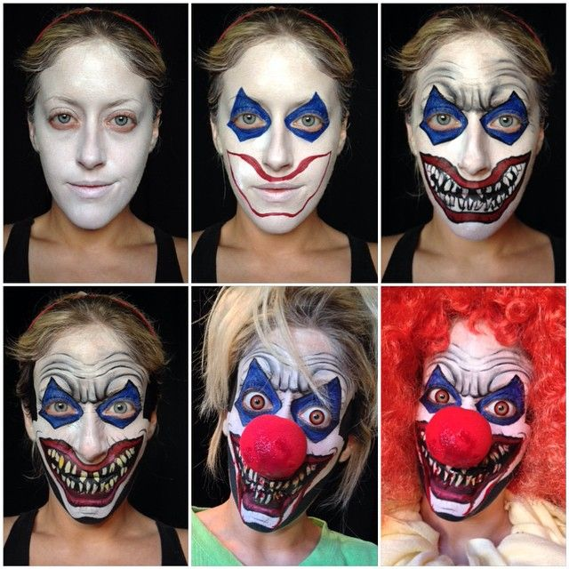 Step By Step Eye Makeup Pics My Collection Halloween Makeup Scary Scary Clown Costume Halloween Circus
