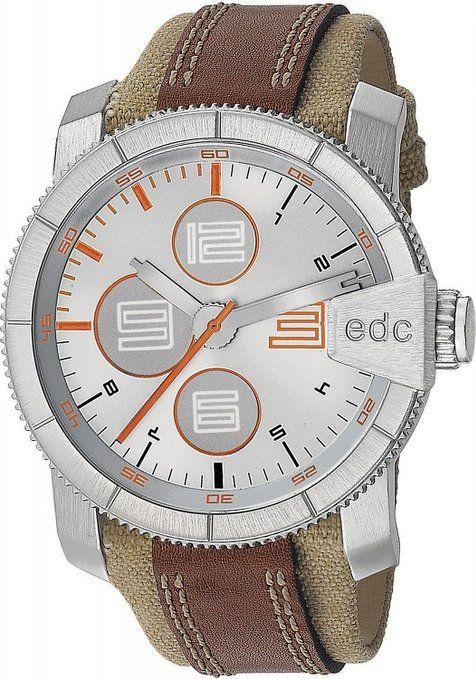 edc by Esprit  Rock Climber - Reloj de cuarzo para hombre, con correa de otros materiales, color marrón