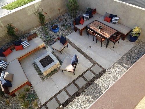 Cement Square Backyard Small Square Concrete Fire Pit Modern