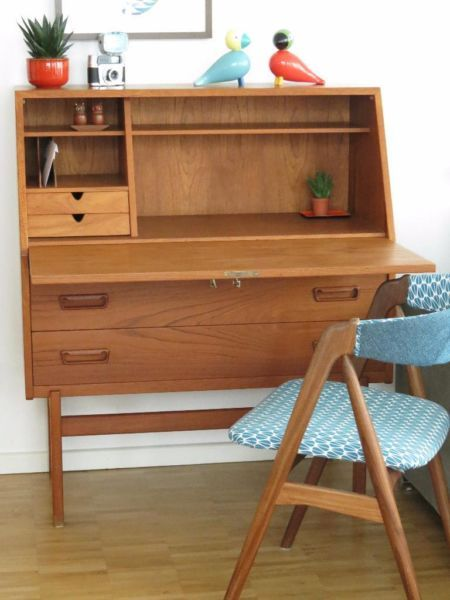 teak sekret r von designer arne wahl iversen schreibtisch 60er mid century m bel. Black Bedroom Furniture Sets. Home Design Ideas