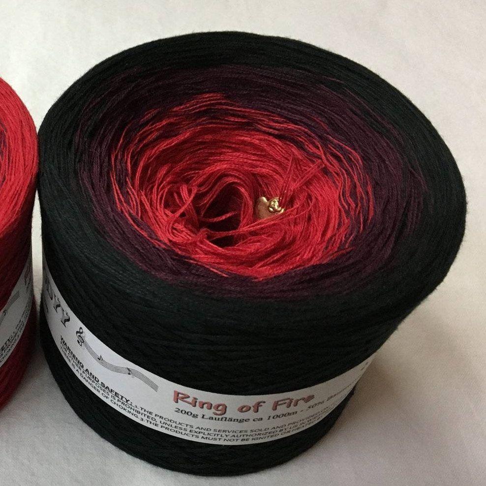 Ring Of Fire Fire Yarn Lava Yarn Black and Red Yarn