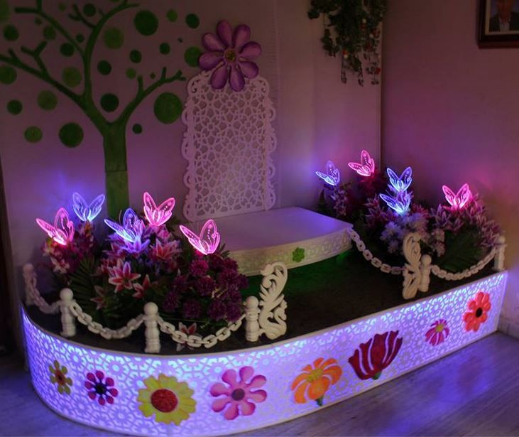 Ganpati Decoration Ideas At Home Ganesh Pooja Decoration Decoration And Craft