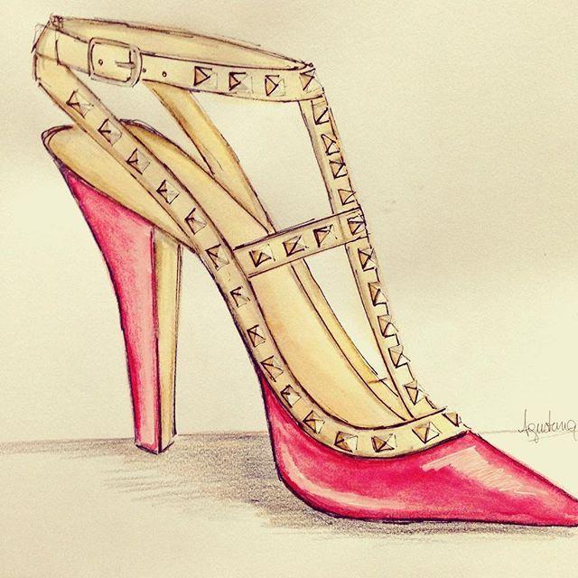 #shoesillustration #shoes #valentino #zapatos #ilustracion #sketch #summer16 #moda #fashionblogger #fashionsketch #fashion #fashiondesign #design #diseño #dessindemode #fadu #ilustraciondemoda #mode #photography #fashionsketch #illustration #fashionillustration #red #studs  #art #watercolors #acuarelas #polychromos