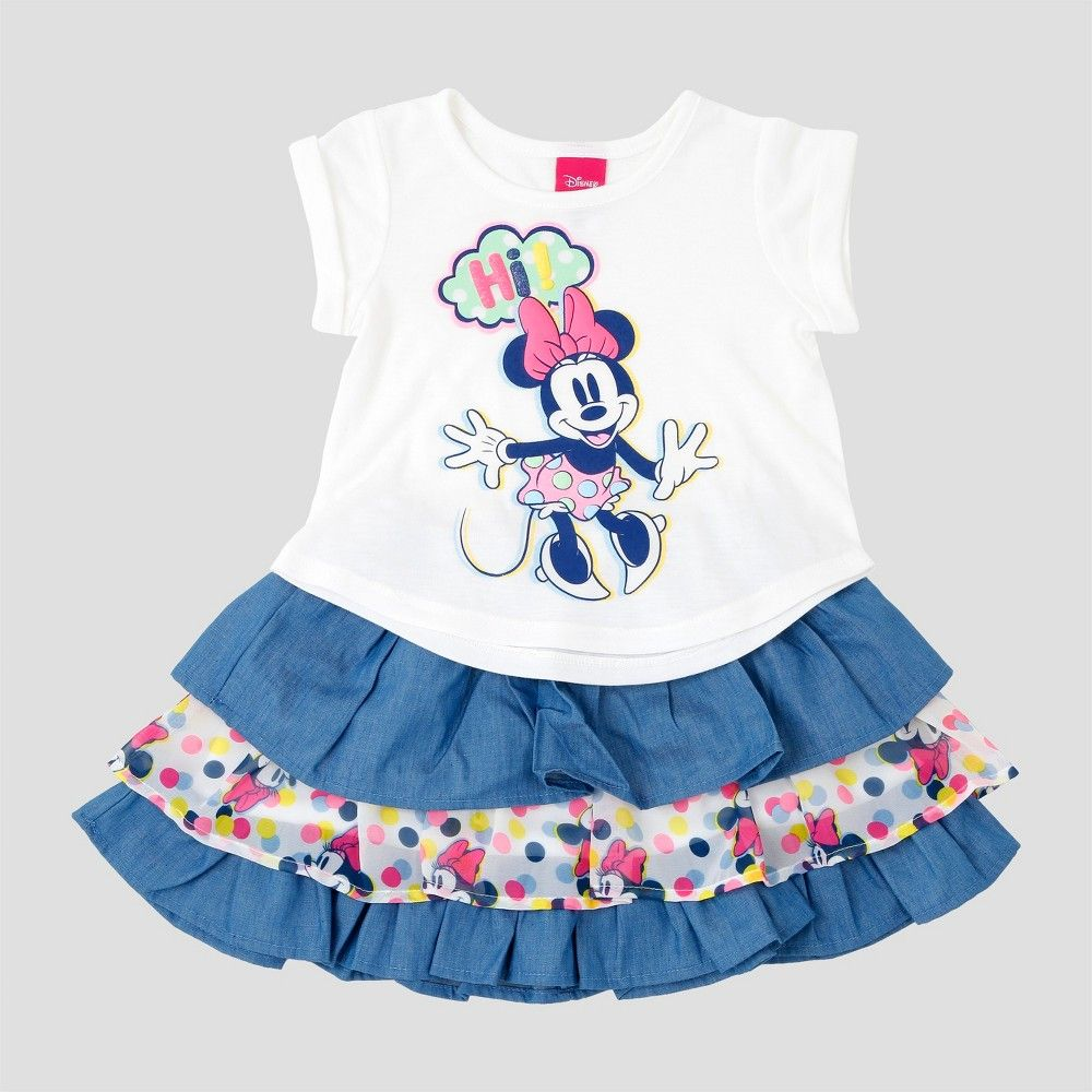 Baby Girls\' Minnie Mouse Top And Bottom Sets Disney Eggshell 12 M ...