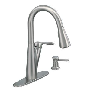 Moen Pullout Spray High Arc Kitchen Faucet With Soap Dispenser From The  Harlon Collection, Spot Resist Stainless