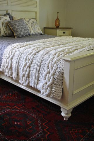 Chunky Cable Knit Blanket In Cream Irish Cabled Wool Hand Knitted
