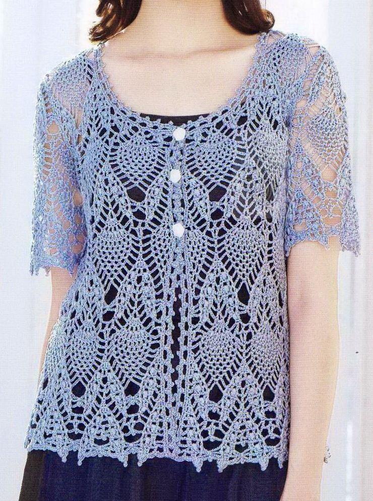 Free Pineapple Cardigan Pattern Crochet Sweater Lace Cardigan Blue