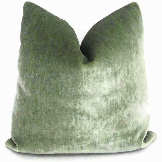 Sage Green Mohair Velvet Decorative Pillow Cover 18x18 20x20 22x22 Or Lumbar