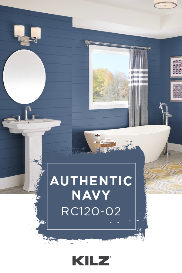Sail Away On The Dark Blue Hue Of Kilz Complete Coat Paint Primer In One In Authentic Navy This Hue Brings A Moody P Paint Colors For Home Home Room